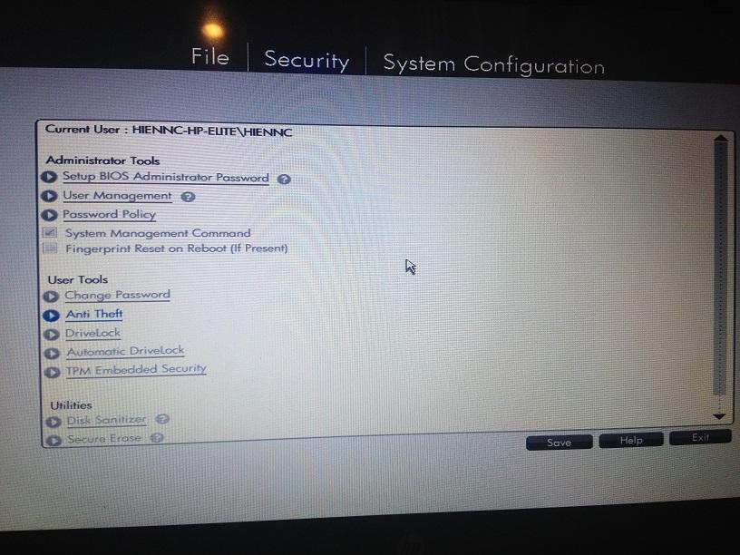HP EliteBook 850 G3: The HP EliteBook 850 G3 Bios settings - eehelp com