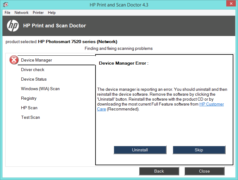 HP7520 Scanner not working not not on windows 8 1x64 PC bits
