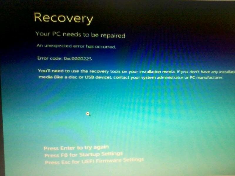 HP 15 AC121dx Touch: Error 0xc0000225 - eehelp com
