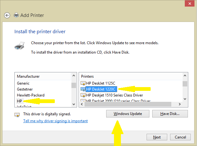 how to  hp printer driver for windows 8
