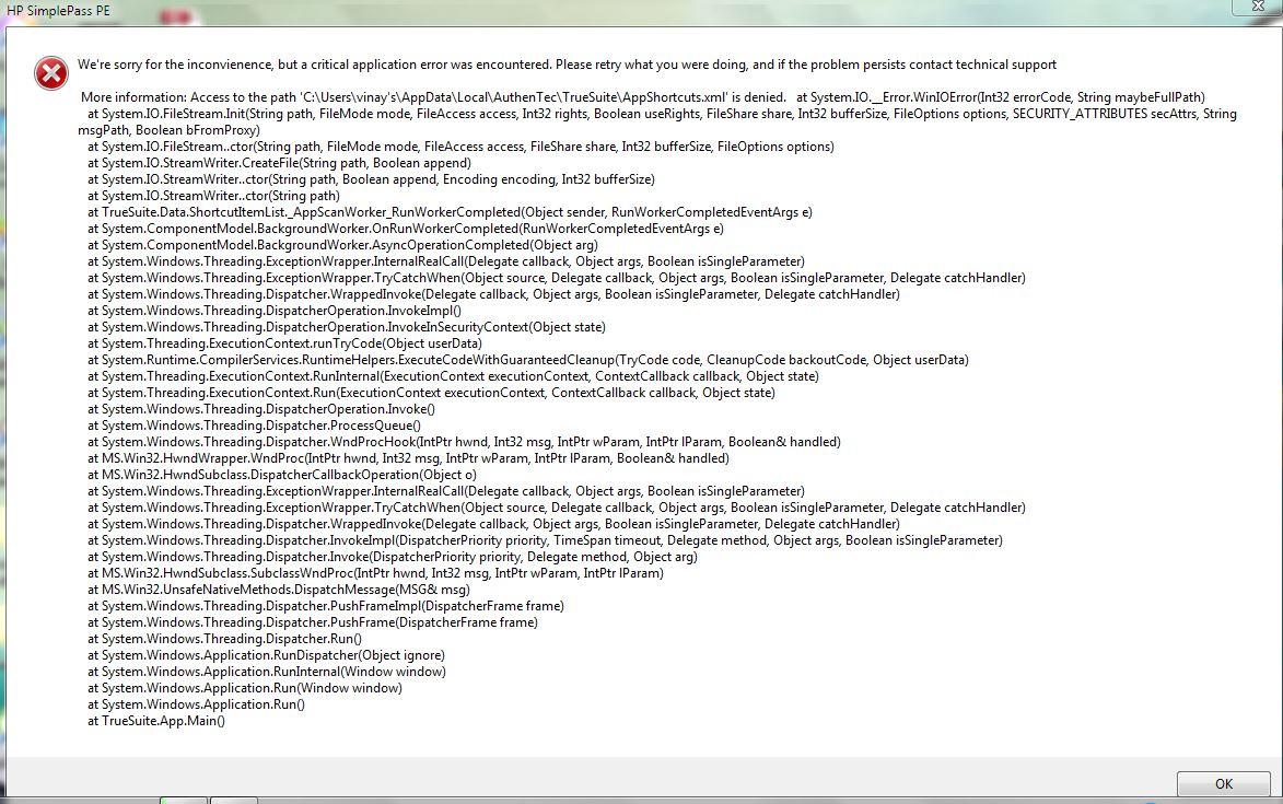 Error HP SimplePass - eehelp com