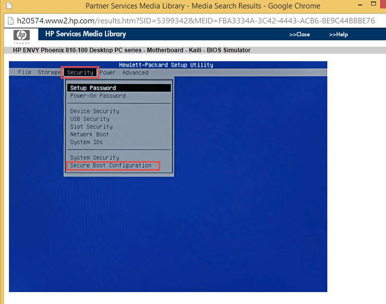 Disable a startup secure on my HP envy phoenix 180-145qe - eehelp com